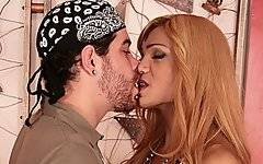 Gorgeous ethnic shemale Mariana Fenix is a truly nasty cumslut!  At the beginning of this clip, porn star Rico treats her like a real lady, sucking on her big tits and then lowering his head down towards her throbbing dick.  However, Mariana is quite submissive, and prefers to be the one sucking the dick rather than having her penis blown by her man.  Rico returns his oral attentions towards her anus, licking it to make it slippery and ramming his dick right inside.  He holds the babe upside down, slamming her anally in piledriver while she jerks off all over herself.  Once his lady has ejaculating, Rico blows his load in her ass.