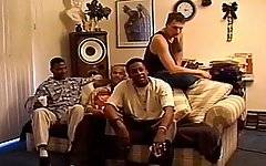 Three horny black guys team up to pound a tight shemale ass hole in this ebony transsexual gangbang clip.  The big dick shemale looks slightly scared as she sees the three well hung, muscular and the dominant studs strutting around her.  She tries to get her men off quick, by sucking their hard pricks and getting them close to the point of orgasm and before they fuck her.  However, the guys know this trick, and make sure that they pull out of her mouth and ram their pricks into her ass hole before they get too close to cumming.  By the end of the scene, the tranny has an extremely sore and raw ass hole and is splattered with black semen.
