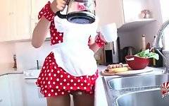 Hot asian tgirl plays her dick before making coffee.