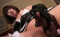 Naughty japanese tranny enjoys rubbing her cock.