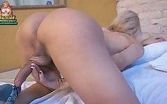 Attractive Latin tranny is getting more and more turned on.
