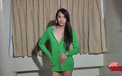 Cute skinny ladyboy Paolai is stripping for your joy.