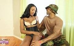 Kimmy is ahot tgirl with a sexy body and a juicy bubble butt! Watch this hot Grooby girl being fucked by Soldier Boi in this hot hardcore scene!