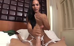 She spurts a white hot sperm-load directly at the POV guy. Kryha isn`t done yet and wants to be feb. She gets on her knees and opens her mouth for the POV`s cum. The warm man juice lands on Kyrha`s tongue and she swallows it in a satisfying gulp. Kyrha is Ladyboy perfection.
